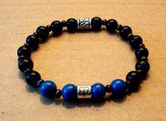 Men's Zodiac Aries Blue Riverstone and Black Ceramic Bead Stretch Bracelet by fancyfreeboutique on Etsy