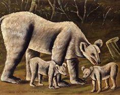 The white bear with cubs - Niko Pirosmani