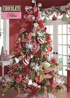 Temática Peppermint o bastón de dulce para decorar Árbol de Navidad. #TematicasArbolesDeNavidad
