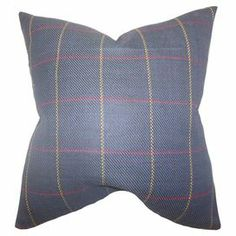 """Bring a pop of style to your sofa or favorite reading nook with this feather and down-filled cotton pillow, featuring a classic plaid motif for country-chic style. Made in the USA.  Product: PillowConstruction Material: Cotton cover and down-feather fillColor: Yellow, red and blueFeatures:  Plaid motifInsert includedHidden zipper closure Made in the USADimensions: 18"""" x 18"""""""