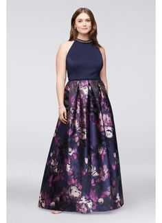 Pretty beading at the high neckline of this ball gown dazzles, as a lustrous jacquard skirt supplies a stunning finish. By Ignite Polyester, spandex Side zipper; Gowns For Plus Size Women, Best Plus Size Dresses, Gala Dresses, Formal Dresses, Plus Size Formal, Bride Groom Dress, Bride Dresses, Chic Dress, Mother Of The Bride