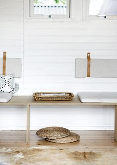 Minimal Bench with Back and Seat Cushions.