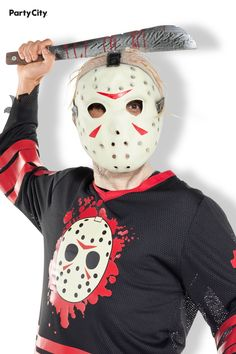 Ruin the camping trip as the machete-wielding misfit Jason Voorhees! This costume's foundation is Jason's signature hockey mask, a machete, and a hockey jersey. Upgrade the costume with extras, like makeup or fake blood, to fill in all the monstrous details. Fake Blood, Jason Voorhees, Get The Party Started, Party Stores, Ruin, Hockey, Fill, Foundation, Halloween Costumes