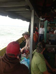 Joe Schill, Owner, not enjoying the rough waves during company fishing charter.