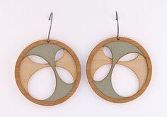 Black cut out design layered hoop wooden drop earrings fT9JR
