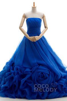 新作 プリンセス カラードレス ロイヤルブルー ビスチェ オーガンジー 編み上げ式 フラワーモチーフ VJ0176-RB