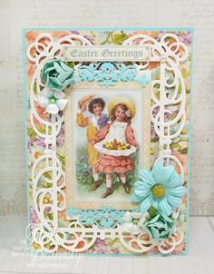 The Stamp Simply Ribbon Store - Easter Greetings Card - Graphic 45 and Spellbinders -Heidi Blankenship