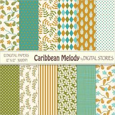 Floral Digital Paper CARIBBEAN MELODY Green