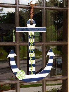 Front Door Summer Anchor Decoration - Hanger via Etsy Lake Decor, Coastal Decor, Summer Decoration, My Pool, Front Door Decor, Front Porch, Nautical Theme, Beach Themes, Door Wreaths