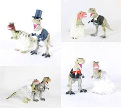 These dinosaur wedding toppers are the best! So unique. They can even be customized to match our wedding attire. The trex toppers are perfect!