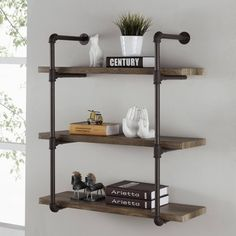 Shop b three tier faux wood industrial pipe wall shelf on shelves for walls mounted shelving units Regal Industrial, Industrial Pipe Shelves, Industrial Interior Design, Industrial House, Industrial Furniture, Pipe Shelving, Wall Shelving, Urban Industrial, Metal Pipe Shelves