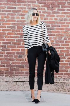 A great everyday look, skinny black pants, loafers, striped long-sleeve tee and the classic trench for those cooler fall days | photos of Jacey @ Damsel In Dior ~ debra   Dust Jacket on Bloglovin' The