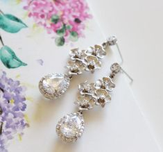 Bridal Earrings, Crystal Drop Earrings, Cherry #romanticwedding #springwedding #weddingjewelry #bridaljewelry #crystalearrings #weddingearrings #bridalearrings #cherryblossom #dangleearrings #flowerearrings #spring #dropearrings #jewelryforbrides