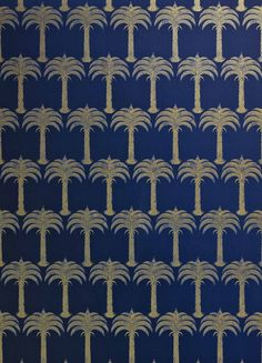 Marrakech Palm Wallpaper A stunning tropical wallpaper with palm tree design shown in metallic gold on a midnight blue ground.