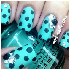 ModNails: Polka Dot Madness nail art design (China Glaze - For Audrey, black dots & matte topcoat)