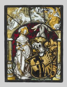 Heraldic Panel with Arms of Lichtenfels and a Unicorn Hunt, c. 1515  Germany or Switzerland, 16th century  white glass with silver stain and...