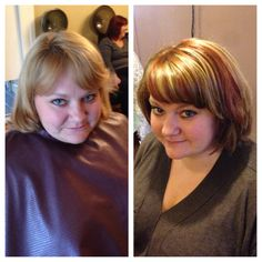 Before and after bold chunky haircolor with highlights and red lowlights