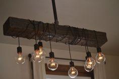 Rustic wood beam light / modern farmhouse chandelier / rustic dining room lighting / wrapped beam with pendant lights / kitchen island light Farmhouse Pendant Lighting, Farmhouse Chandelier, Rustic Chandelier, Rustic Lighting, Vintage Lighting, Farmhouse Decor, Chandelier Lighting, Hallway Chandelier, Bohemian Lighting