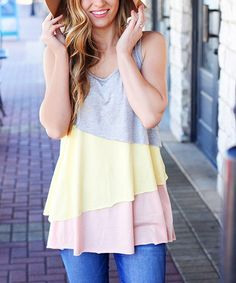 Look what I found on #zulily! Pastel Pink Layered Racerback Tank #zulilyfinds
