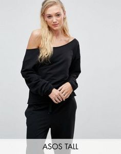 ASOS TALL LOUNGE Raw Edge Off Shoulder Sweat