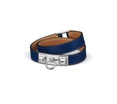 Rivale Double Tour Double-loop bracelet in Sapphire Blue Swift calfskin, palladium-plated clasp (wrist size: 17 cm)