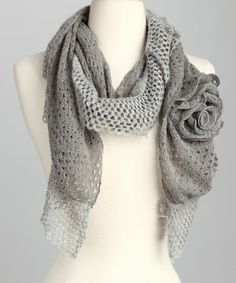 Fabulous grey scarf with a flower on the side!