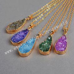 Wholesale Gold Plated Teardrop Rainbow Agate Druzy Geode Pendentif Necklace Natural Druzy Geode Jewelry Drop Drusy Gemstone Craft G0170-N by Druzyworld on Etsy