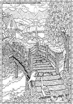 Bridge In The Villages Adults Coloring Pages Free Will Show You Wonder Of Countryside Atmosphere