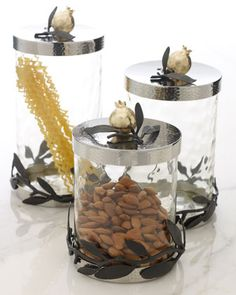 """Olive Branch Pomegranate"" Canisters by Michael Aram at Neiman Marcus."