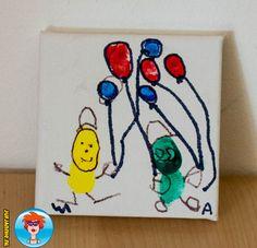 Schilderij met vingerpoppetjes voor vaderdag - knutselen