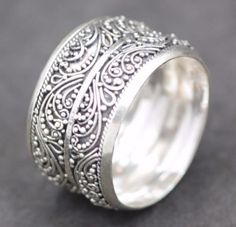 b946c2a3881 Handmade Solid Sterling Silver .925 Bali Wave Style Wide Unisex Band Ring.  Sz. 7