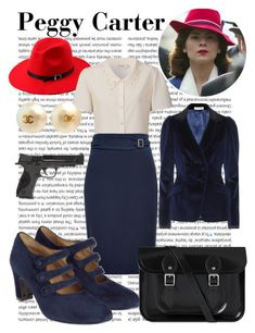 """""""Peggy Carter"""" by wonderlandofgeeks ❤ liked on Polyvore featuring Oris, Altuzarra, HUGO, Toast, Chanel, Smith & Wesson, disney, marvel, CaptainAmerica and peggycarter"""