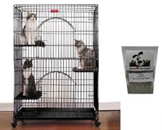 ProSelect Secure and Durable - Black - Foldable Cat Cage + FREE Downtown Pet Supply Catnip