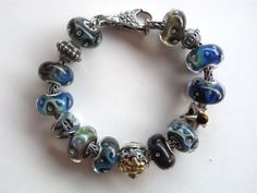 "Azure Obsession Bracelet... Unbelievable, but every one of these glass beads is an ""Azure Bubbles"".  Love the dramatic variations..."