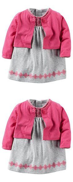 Carter's Baby Girls' 2 Piece Floral Dress Set Pink/Grey Emroidered-3M