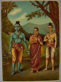 Rama, Sita, Lakshmana Date: ca. 1880–1900 Culture: India Medium: Lithograph with varnish Dimensions: Image: 13 1/2 × 9 3/4 in. (34.3 × 24.8 cm) Sheet: 13 7/8 × 9 7/8 in. (35.2 × 25.1 cm) Classification: Prints Credit Line: Purchase, Gift of Mrs. William J. Calhoun, by exchange, 2013 Accession Number: 2013.7