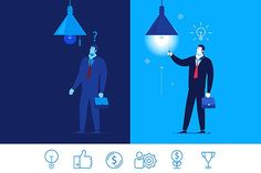 Vector business concept   6 icons Graphics Flat design vector concept illustration. Businessman standing in the dark and did not know what to d by Krol