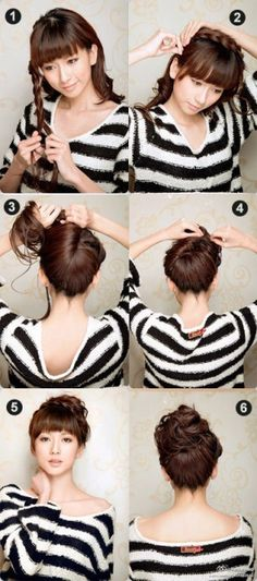 • Taking hair from one side of your hair, braid tight • Bring this to the other side of the head • Secure both sides with pins • Take all the loose hair and pull it up, twisting it from the base as you go up • Tie it into a messy bun