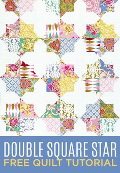 "Stunning Double Square Star Quilt with this FREE Quilting Tutorial! 62x""75"" using charm/5"" squares"