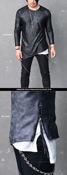 Tops :: Tees :: Dark Edge Crack Unbalance Zip Strap-Tee 599 - Mens Fashion Clothing For An Attractive Guy Look