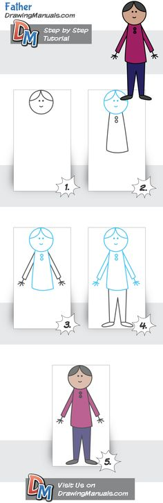 How to Draw a Father, Simple Tutorial for Toddlers