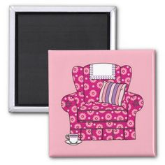 Cup of Tea Pink Chair Magnets