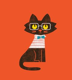 Preppy cat Art Print
