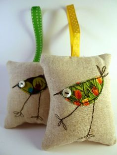 lavender birdy bags, NO pattern, just loving the free hand sewing machinery. Great idea for inspiration xox