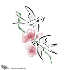 Swallows & peach flowers. Rebirth.  Silvia requested a small tattoo showing two flying swallows and peach flowers, to symbolize Spring, time of rebirth when the world wakes up to life once again.  http://www.tattootribes.com/index.php?newlang=English&idinfo=7018