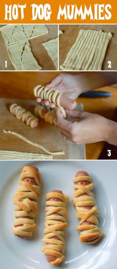 Hot Dog Mummies Pigs in a blanket, Halloween style! What a fun party idea or…