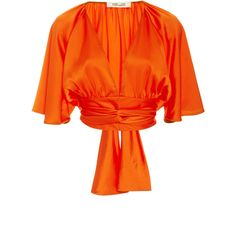 Diane von Furstenberg V-Neck Tie Blouse ($300) ❤ liked on Polyvore featuring tops, blouses, orange, crop blouse, orange crop top, neck tie blouse, orange blouse and orange necktie