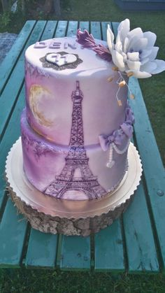 Hand painted Eiffel Tower  by Blacksun Paris Themed Cakes, Paris Birthday Cakes, Paris Cakes, Torta Paris, Elegant Cakes, Unique Cakes, Gorgeous Cakes, Pretty Cakes, Amazing Cakes