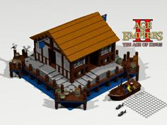 Lego Dock from Age of Empires Age of Kings RTS game. Age Of Empires, Lego Beach, Lego Kingdoms, Lego Age, Lego Knights, Lego Sculptures, Cool Lego, Awesome Lego, Amazing Lego Creations