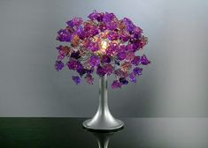 Purple flowers Table lamp with metal wires, small table lighter, Purple roses lighter.